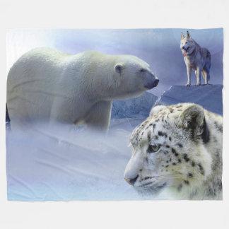 Polar Bear, Dog and Snow Leopard Fleece Blanket