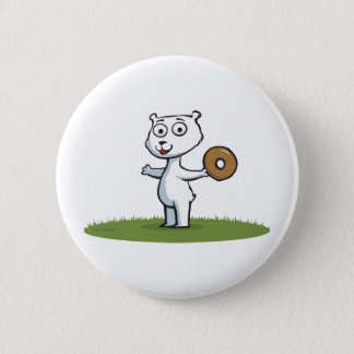 Polar Bear Donut 2 Inch Round Button