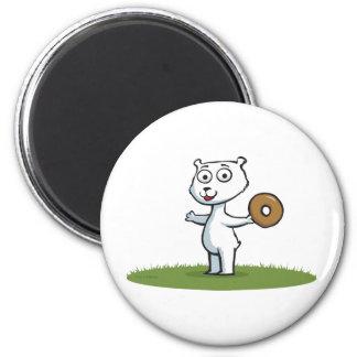 Polar Bear Donut 2 Inch Round Magnet