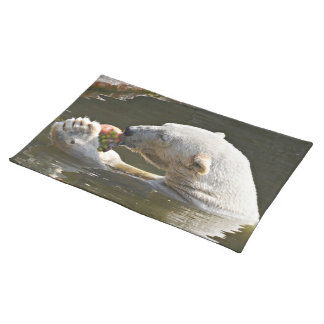 Polar Bear Eating Fruit In Water Placemat