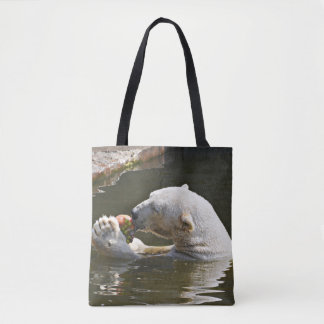 Polar Bear Eating in Water Tote Bag