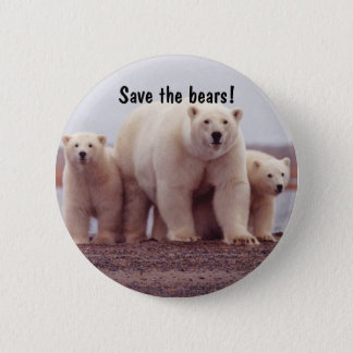Polar Bear Family 2 Inch Round Button