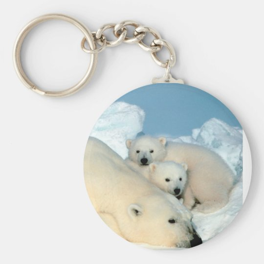 Polar Bear Family Basic Round Button Keychain