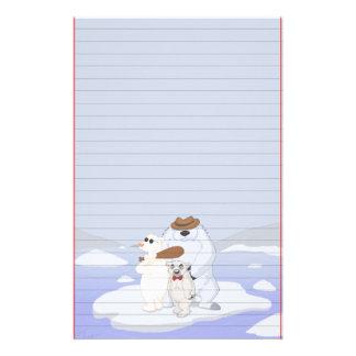 Polar Bear Gang on Ice Stationery (Ruled)