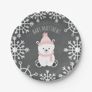 Polar Bear Girl Winter Baby Shower Paper Plate