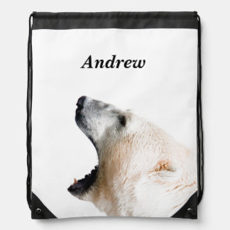 Polar bear growl drawstring bag