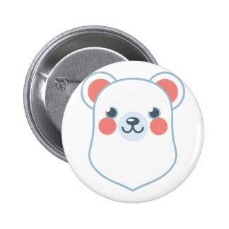 Polar Bear Head 2 Inch Round Button