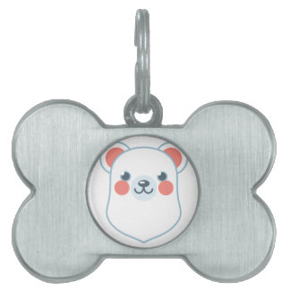 Polar Bear Head Pet Name Tag