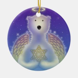 Polar Bear Holding Star Onrament Ceramic Ornament