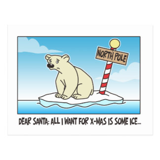 Polar Bear Ice Christmas Postcard