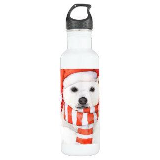 polar bear in a santa cap - snowflakes w white 710 ml water bottle