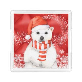 polar bear in a santa cap - snowflakes w white acrylic tray
