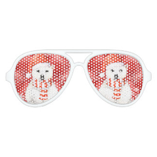 polar bear in a santa cap - snowflakes w white aviator sunglasses