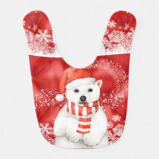 polar bear in a santa cap - snowflakes w white bib
