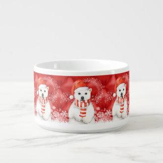 polar bear in a santa cap - snowflakes w white bowl
