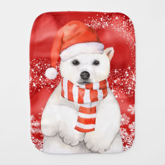 polar bear in a santa cap - snowflakes w white burp cloth