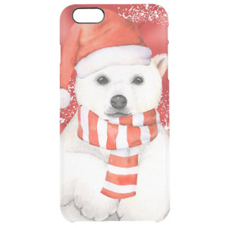 polar bear in a santa cap - snowflakes w white clear iPhone 6 plus case