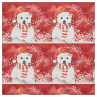 polar bear in a santa cap - snowflakes w white fabric