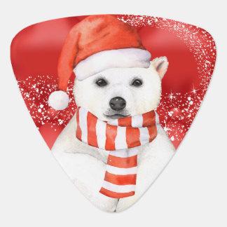 polar bear in a santa cap - snowflakes w white guitar pick