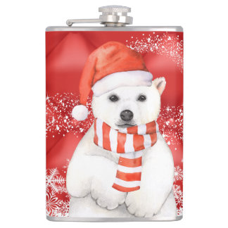 polar bear in a santa cap - snowflakes w white hip flask