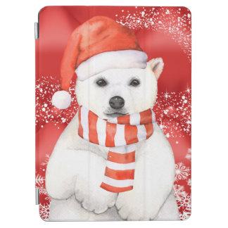 polar bear in a santa cap - snowflakes w white iPad air cover