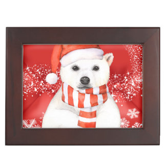 polar bear in a santa cap - snowflakes w white keepsake box