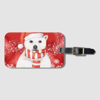 polar bear in a santa cap - snowflakes w white luggage tag