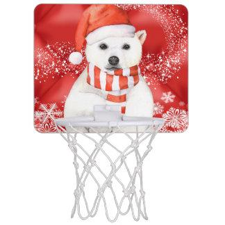 polar bear in a santa cap - snowflakes w white mini basketball hoop