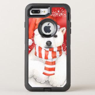 polar bear in a santa cap - snowflakes w white OtterBox defender iPhone 8 plus/7 plus case
