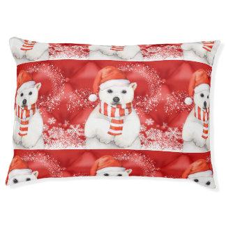 polar bear in a santa cap - snowflakes w white pet bed