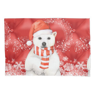 polar bear in a santa cap - snowflakes w white pillowcase