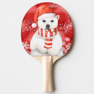 polar bear in a santa cap - snowflakes w white ping pong paddle