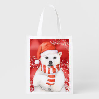 polar bear in a santa cap - snowflakes w white reusable grocery bag