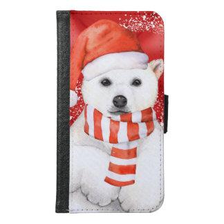 polar bear in a santa cap - snowflakes w white samsung galaxy s6 wallet case