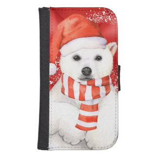 polar bear in a santa cap - snowflakes w white samsung s4 wallet case