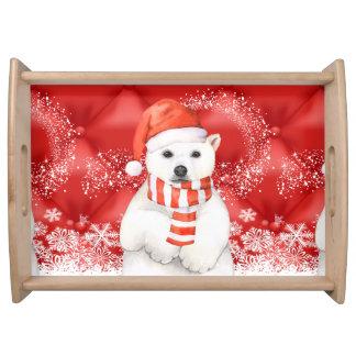 polar bear in a santa cap - snowflakes w white serving tray