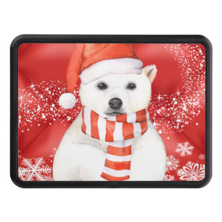polar bear in a santa cap - snowflakes w white trailer hitch cover