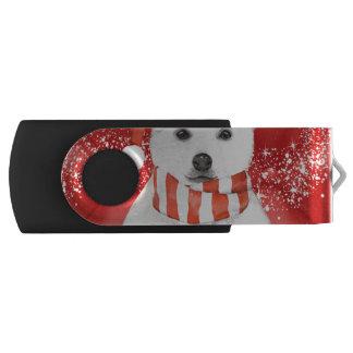 polar bear in a santa cap - snowflakes w white USB flash drive