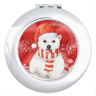 polar bear in a santa cap - snowflakes w white vanity mirrors