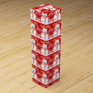 polar bear in a santa cap - snowflakes w white wine box