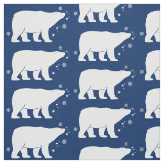 Polar Bear in the Snow Fabric
