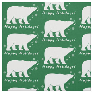 Polar Bear in the Snow Happy Holidays Fabric
