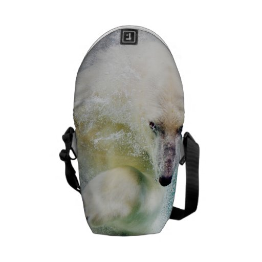 Polar Bear In Water Courier Bags