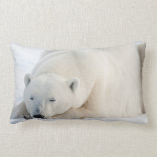 Polar Bear in winter Lumbar Pillow