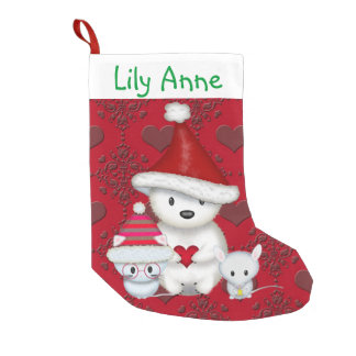 Polar Bear, Kitty and Mouse Personalized Stocking Small Christmas Stocking