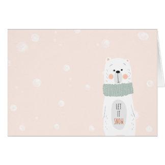 Polar bear - Let it snow - Cute Winter / Christmas Card