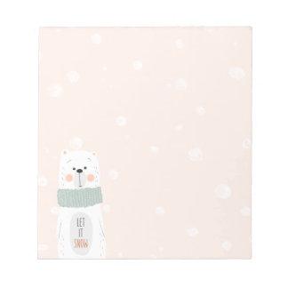Polar bear - Let it snow - Cute Winter / Christmas Notepad