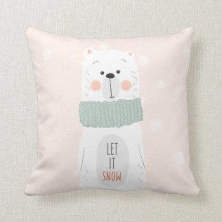 Polar bear - Let it snow - Cute Winter / Christmas Throw Pillow