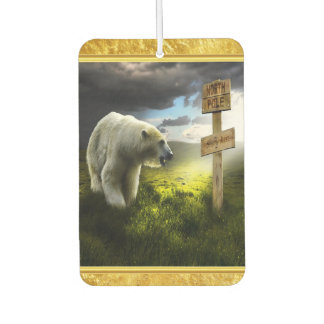 Polar bear looking at the north pole wooden sign air freshener