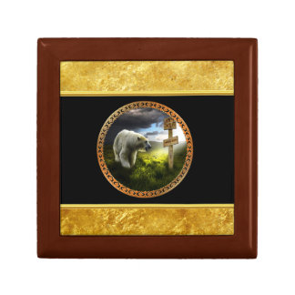polar bear looking at the north pole wooden sign gift box